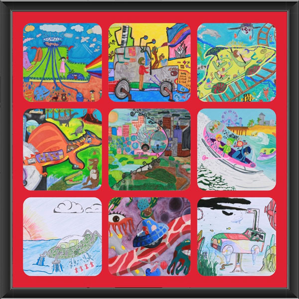Artwork from the nine U.S. winners of the 2013 Toyota Dream Car Art Contest.