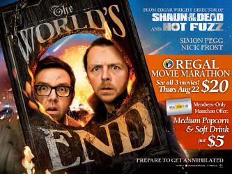 Enjoy the World's End with Popcorn and Soft Drink