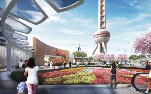 Artist impression: plaza view of the proposed Disney Store, Shanghai.