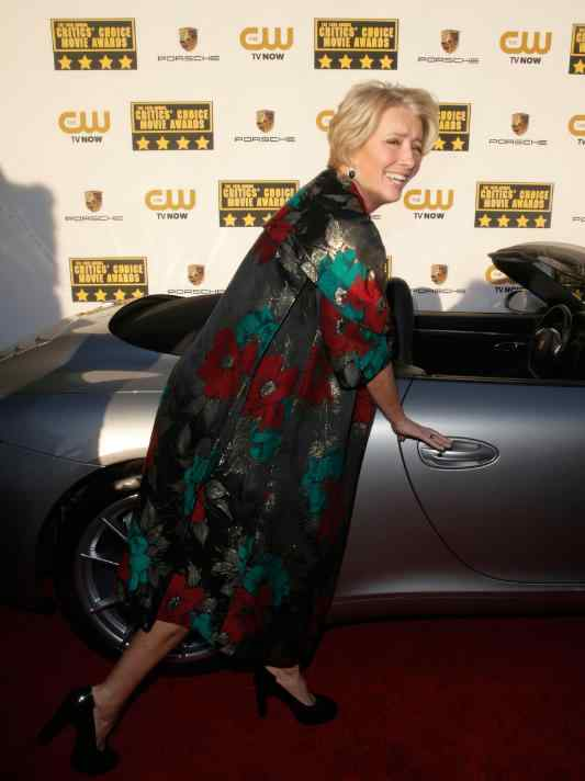 Emma Thompson attends the 19th annual Critics' Choice Movie Awards presented by Porsche at The Barker Hangar in Santa Monica on Thursday, Jan. 16, 2014.