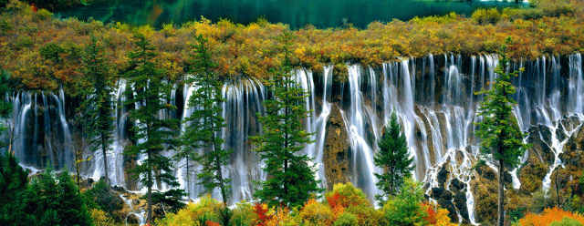 Jiuzhai Valley's Nuorilang Waterfall in China