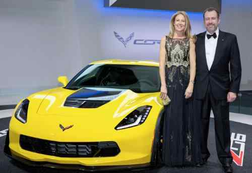 GM President Dan Ammann (R) and his wife, Pernilla, chief operating officer of Mother New York