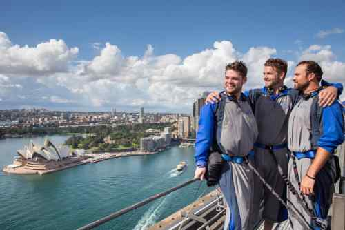 Diamondbacks pitcher Josh Collmenter and friends take in stunning views of Sydney Harbour from the Bridge Climb.