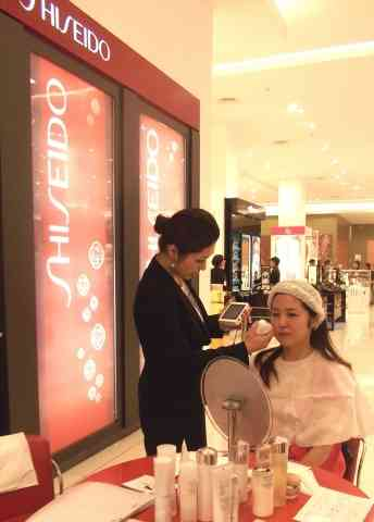A Shiseido counter in Indonesia