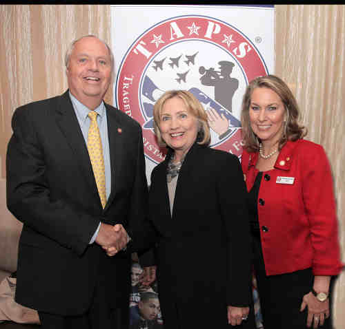 (Left to right) Prudential Vice Chairman Mark Grier, former Secretary of State Hillary Clinton, and Bonnie Carroll, military widow and founder of TAPS.