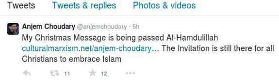 Anjem Choudary Twitter Message