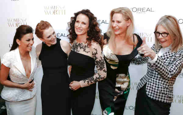 L'Oreal Paris ambassadors, Eva Longoria, Julianne Moore, Andie MacDowell, Aimee Mullins and Diane Keaton, attend the ninth annual L'Oreal Paris Women of Worth celebration at The Pierre on December 2, 2014 in New York City.
