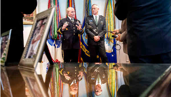 "U.S. Army Gen. Martin E. Dempsey, left, chairman of the Joint Chiefs of Staff, and Lt. Gen. Benjamin ""Benny"" Gantz, chief of the Israeli defense staff, talk to reporters at the Pentagon, Jan. 8, 2015. DoD photo by U.S. Army Staff Sgt. Sean K. Harp"