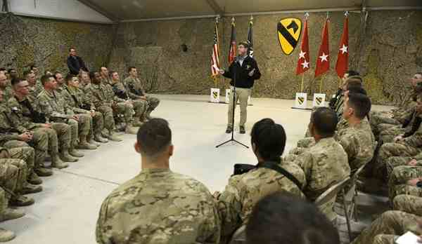 U.S. Defense Secretary Ash Carter talks with troops on Kandahar Airfield, Afghanistan, Feb. 22, 2015. DoD photo by Glenn Fawcett