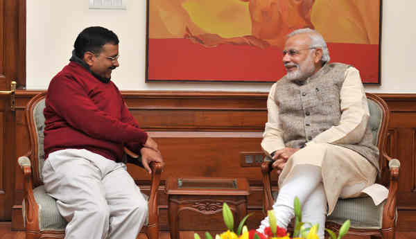 Arvind Kejriwal meets Prime Minister Narendra Modi in New Delhi on February 12, 2015.