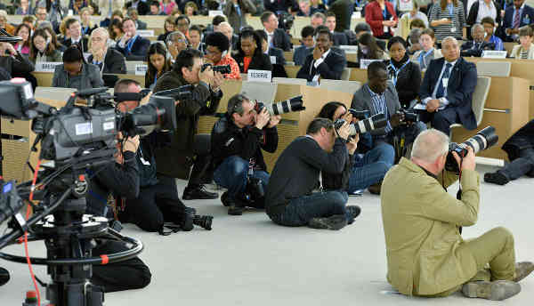 A view of journalists covering the opening of the twenty-eighth session the Human Rights Council in Geneva. UN Photo/Jean-Marc Ferré