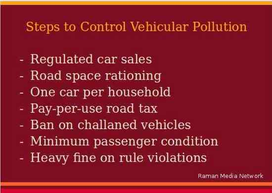 Steps to Control Vehicular Pollution