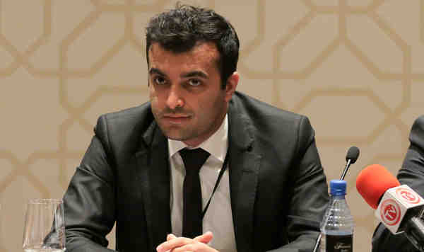 Human rights defender Rasul Jafarov at the Organization for Security and Co-operation in Europe (OSCE) Parliamentary Assembly in Baku in June 2014.