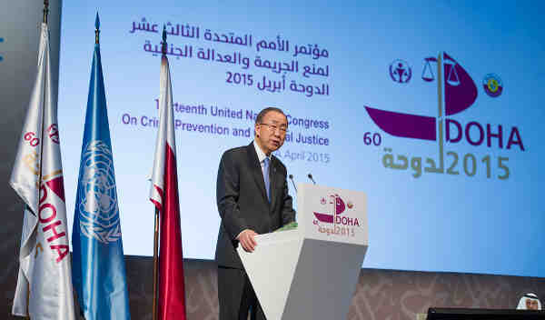 Secretary-General Ban Ki-moon addresses 13th UN Crime Congress in Doha, Qatar. UN Photo/Eskinder