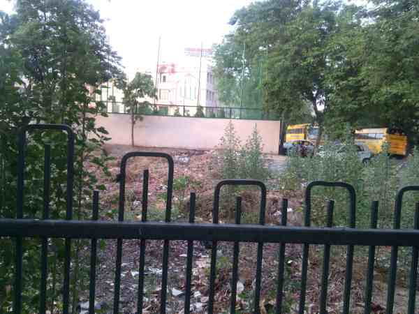 A site for throwing waste just adjacent to the building of a posh private school.
