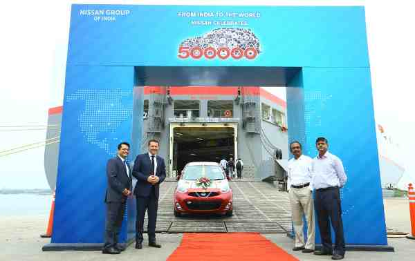 Atul Shahane, GM Exports- Nissan India, Guillaume Sicard -President of Nissan India Operations , Bhaskarachar -Chairman and Managing Director Kamarajar Port and Sanjay Kumar -Director Operations, Kamarajar Port