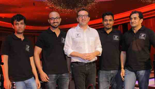 (L-R) 2014 GT Academy Finalists - Karl Patel, Abhinav Bhatt with Mr. Guillaume Sicard - President Nissan India and other finalists Glen Ivan Suchitha and Prakash Nair at the launch of second season of GT Academy in India