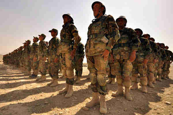 Afghan troops being trained by NATO at one of the military training centres in Kabul. Photo: UNAMA