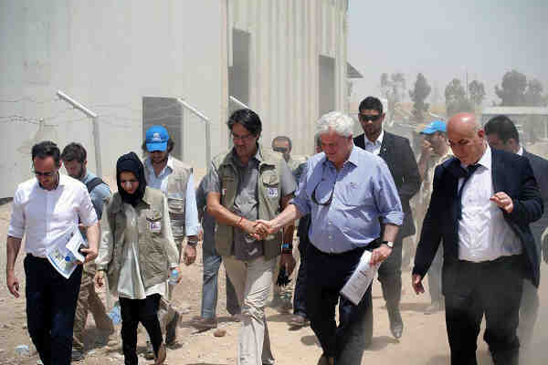 New UN Emergency Relief Coordinator and Under-Secretary-General for Humanitarian Affairs (OCHA), Stephen O'Brien (second right), in Erbil during a two-day visit to Iraq. Photo: UNAMI PIO/Fabienne Vinet