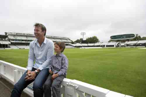 Brett Lee and Isaac Easton (6 years old, Cochlear implant user, profoundly deaf) sharing some laughs at Lords in London