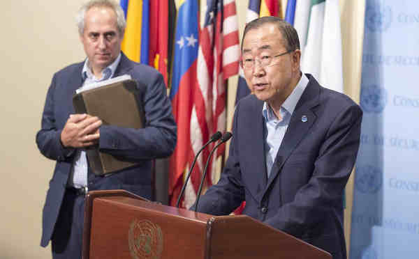 Secretary-General Ban Ki-moon briefs the media on allegations of sexual abuse by UN peacekeepers in the Central African Republic (CAR). UN Photo/Eskinder Debebe
