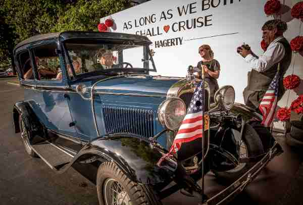 Couple renews their vows in their 1930 Model A at Hagerty's vow renewal ceremony at Woodward Dream Cruise