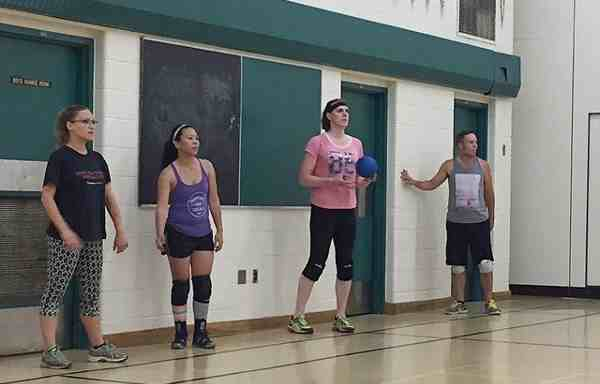 Transgender athlete Savannah Burton practicing for Dodgeball World Championships
