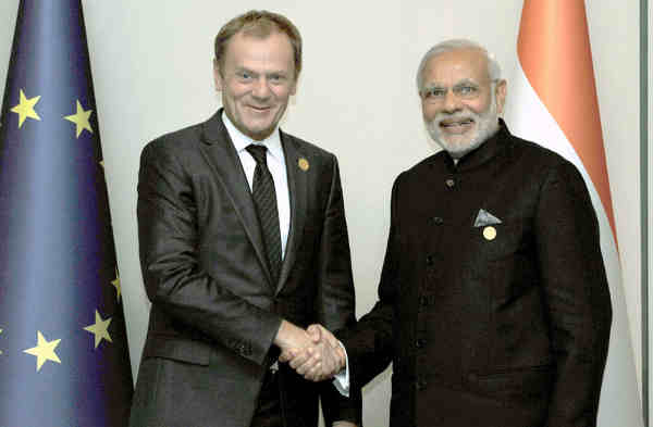 Narendra Modi with the President of the European Council, Donald Tusk, on the sidelines of G20 Summit 2015, in Turkey on November 15, 2015.