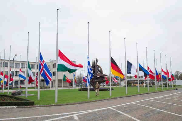 NATO and Allied flags are flying at half-mast at NATO Headquarters