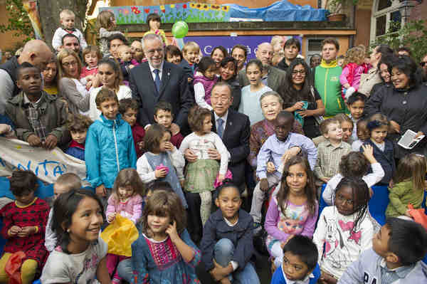 Secretary-General Ban Ki-moon and Madam Ban meet with families of refugees at the Centre Tenda Di Abramo in Rome. UN Photo/Rick Bajornas (file)