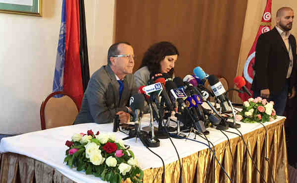 Special Representative Martin Kobler briefs the press after a two-day meeting of the Libyan Political Dialogue in Tunis, Tunisia. Photo: UNSMIL