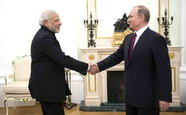 Narendra Modi with Vladimir Putin