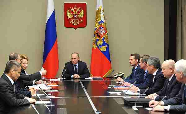 Vladimir Putin meeting with permanent members of the Security Council.