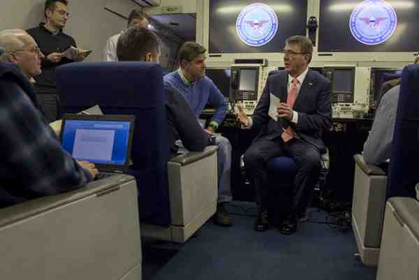 Ash Carter speaks with reporters aboard an Air Force E4-B aircraft as he flies to Brussels, Feb. 9, 2016, to attend NATO meetings for defense ministers. DoD photo by Air Force Senior Master Sgt. Adrian Cadiz