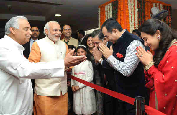 "Narendra Modi interacts with the students and teachers, at the event ""Nayi Disha, Naya Sankalp"", in New Delhi on February 14, 2016."