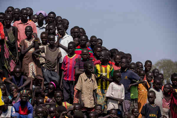 A group of children at the UNMISS Protection of Civilians (POC) camp in Bentiu, Unity State, South Sudan. UN Photo / JC McIlwaine