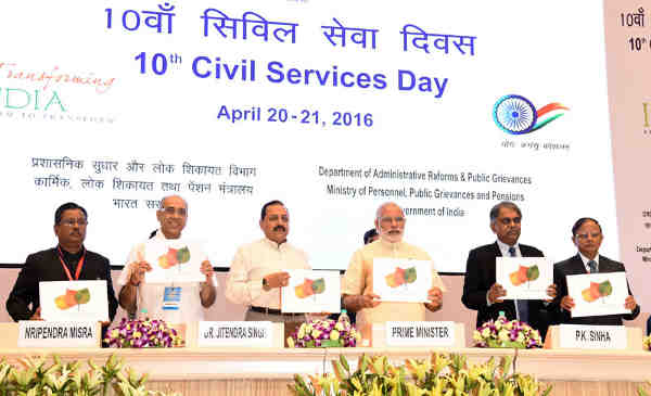 "Narendra Modi releasing a book titled ""Change Makers"", at the 10th Civil Services Day function, in New Delhi on April 21, 2016"