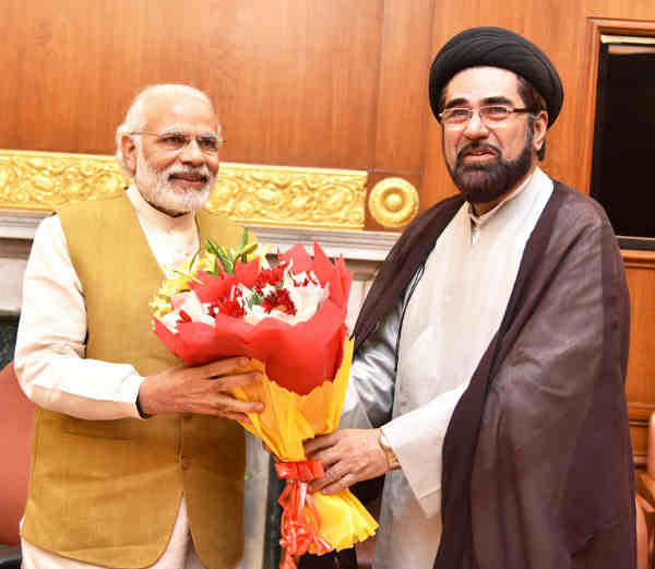 Maulana Kalbe Jawwad, Shia Cleric, part of eminent Muslim citizens delegation calling on the Prime Minister, Narendra Modi, in New Delhi on April 13, 2016