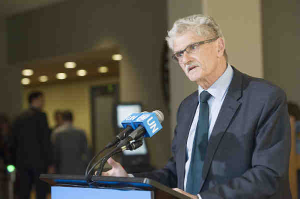 General Assembly President Mogens Lykketoft, briefs journalists following informal dialogues on 12-14 April with nine candidates for the next Secretary-General of the United Nations. UN Photo / Rick Bajornas
