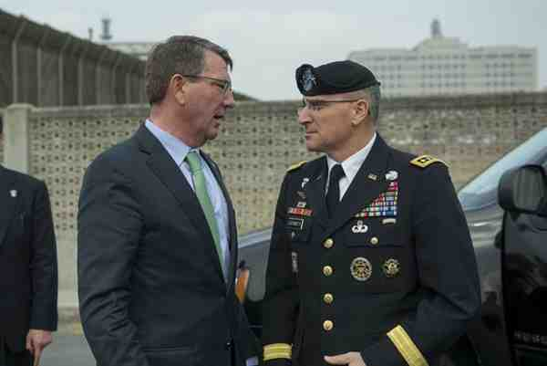 U.S. Defense Secretary Ash Carter with Army Gen. Curtis M. Scaparrotti