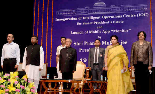 Pranab Mukherjee at the inauguration of the Intelligent Operations Centre (IOC) for Smart President's Estate and launch of the Mobile App 'Monitor', at Rashtrapati Bhavan, in New Delhi on May 19, 2016.