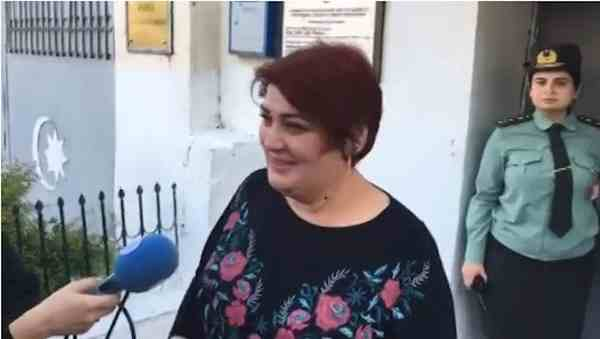 Khadija Ismayilova being interviewed moments after her release on 25 May 2016. Photo: Radio Free Europe / Radio Liberty