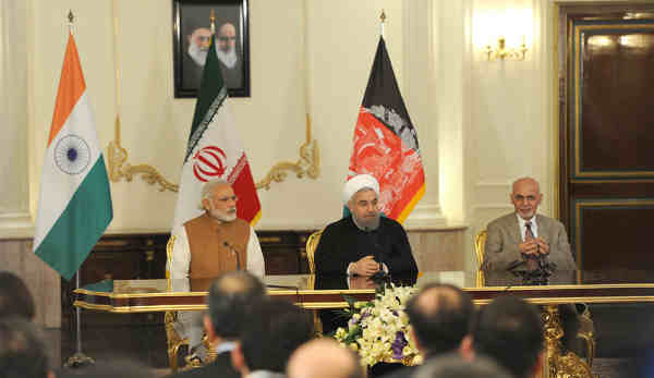 Narendra Modi with the President of Iran, Hassan Rouhani and the President of Afghanistan, Mohammad Ashraf Ghani, witnessing the signing of Trilateral Agreement between India, Afghanistan and Iran, in Tehran on May 23, 2016