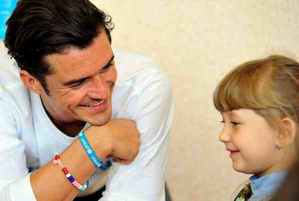 UNICEF Goodwill Ambassador Orlando Bloom plays lego with pupils of School #13 in Slovyansk, as part of a visit to conflict-hit eastern Ukraine, 27 April 2016.