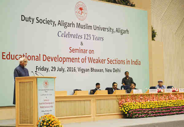 The Vice President, M. Hamid Ansari, delivering the inaugural address at the Seminar on Educational Development of Weaker Sections of our Nation, in New Delhi on July 29, 2016