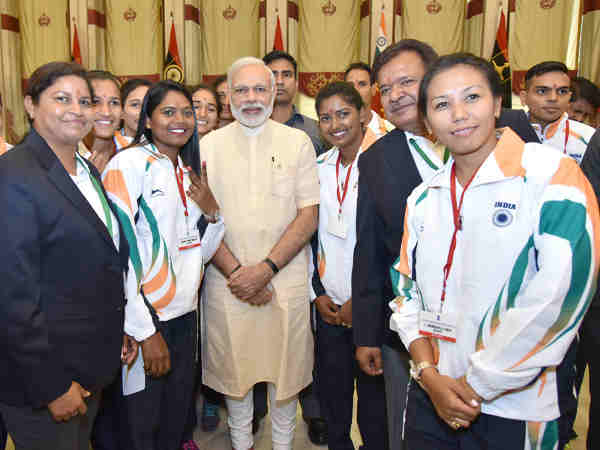Narendra Modi interacting with the sportspersons who will be representing India at forthcoming Rio Olympic Games, in New Delhi on July 04, 2016