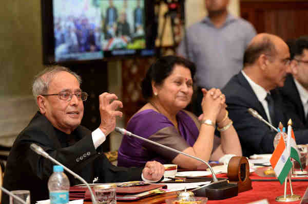 Pranab Mukherjee addressing at the inauguration of the Smart Model Village Pilot Project, at Rashtrapati Bhavan, in New Delhi on July 02, 2016