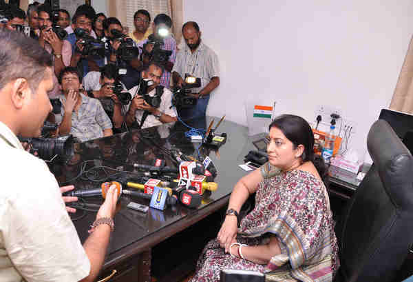 Smriti Irani interacting with media persons, on taking charge as the Union Textiles Minister, in New Delhi on July 06, 2016