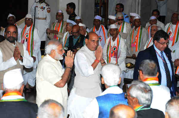 Narendra Modi at the 'At Home' reception for Freedom Fighters, hosted by the President Pranab Mukherjee, at Rashtrapati Bhavan, in New Delhi on August 09, 2016