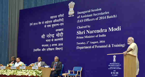 Narendra Modi addressing the Assistant Secretaries (IAS Officers of 2014 batch), in New Delhi on August 02, 2016